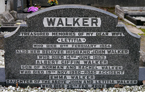 Headstone of John Walker 1884 - 1959