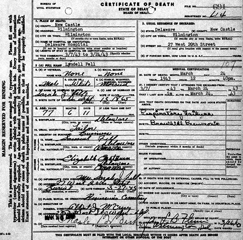 Death Certificate of Lindell Fell