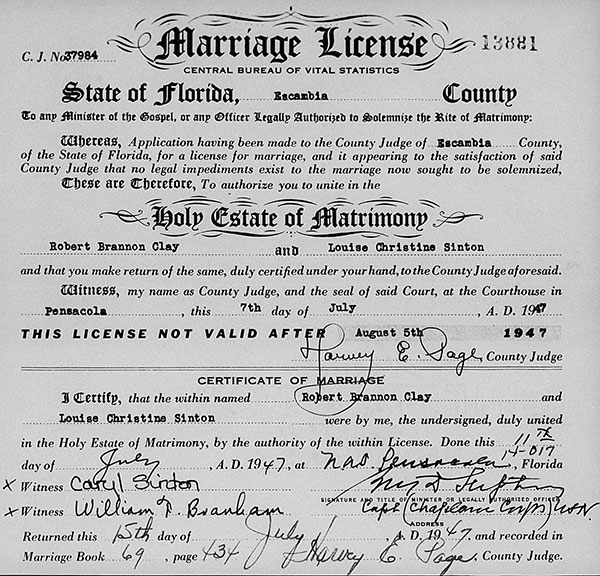 Marriage Certificate for Robert Brannon Clay and Louise Christine Sinton