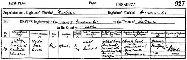 Death Certificate of Lydia Moss Woods - 21 December 1882