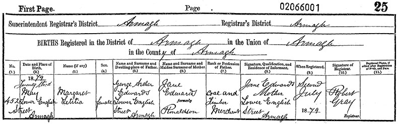 Birth Certificate of Margaret Letitia Edwards - 23 May 1879
