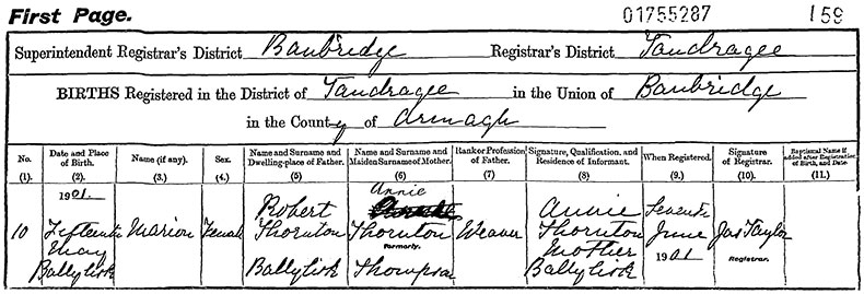 Birth Certificate of Marion Thornton - 15 May 1901