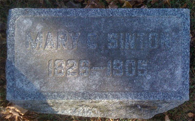 Headstone for Mary C. Sinton 1826 - 1905