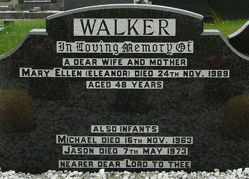 Headstone of Mary Ellen Walker (née Magill) 1941-1989
