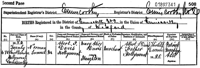 Birth Certificate of Norman Samuel Davis - 23 December 1890