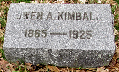Headstone of Owen A. Kimball 1865 - 1925