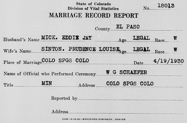 Marriage record for Eddie Jay Mick and Prudence Louise Sinton on 19 April 1930
