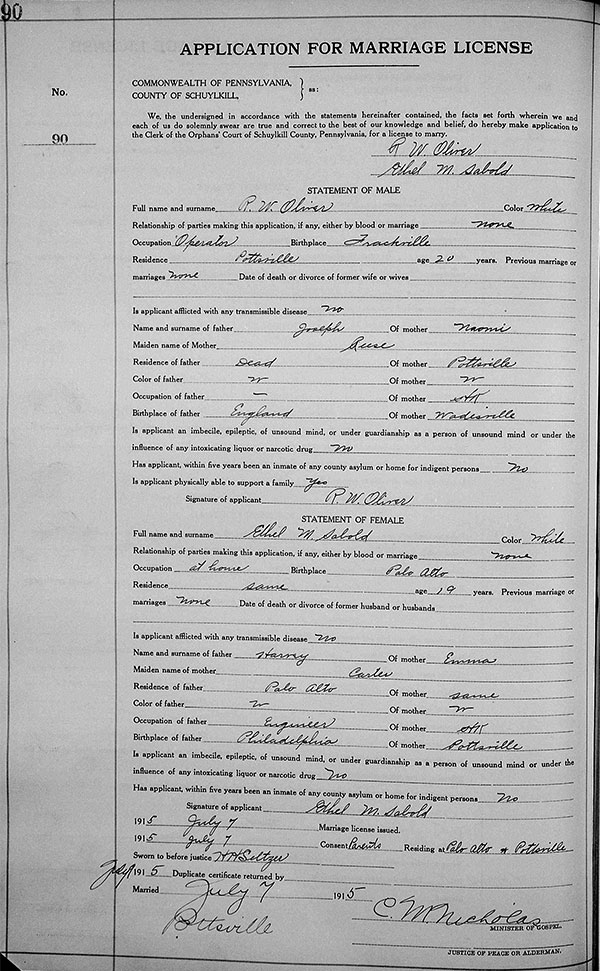 Marriage certificate of Ralph Oliver and Ethel Sabold