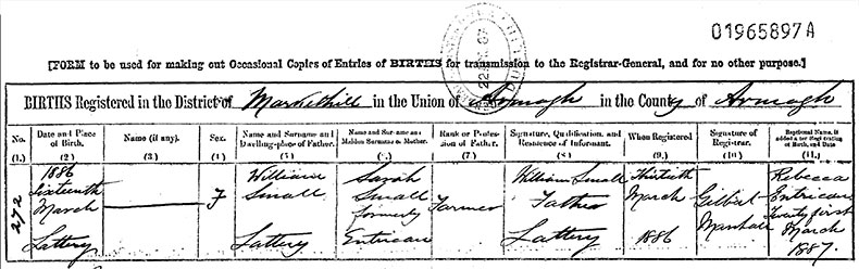 Birth Certificate of Rebecca Entrican Small - 16 March 1886