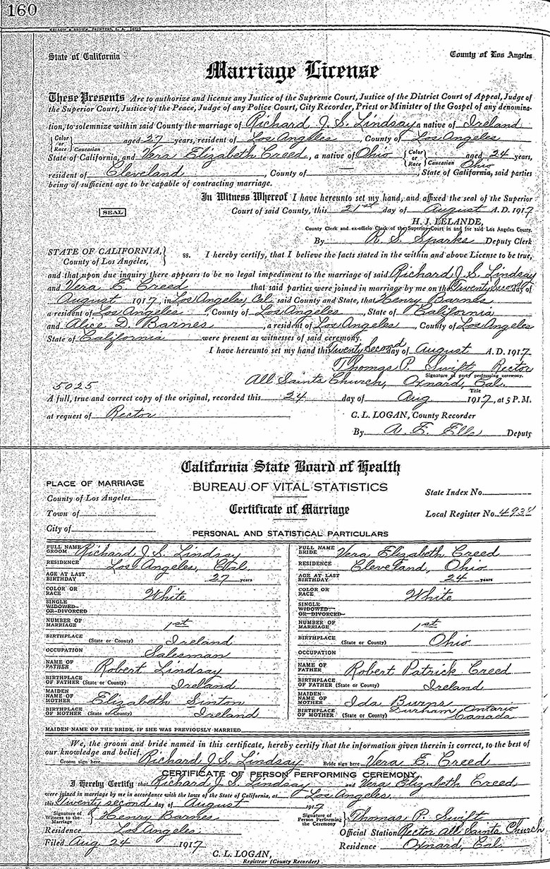 Marriage of Richard John Sinton Lindsay and Vera Elizabeth Creed - 22 August 1917