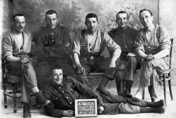 Photograph of Seaforth Survivors from HMT Cameronia 15 Apr 1917