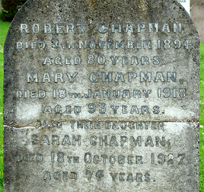 Headstone of Sarah Chapman 1853 - 1927