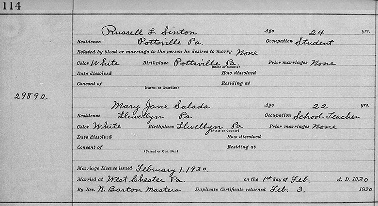 Marriage Registration of Russell Luis Sinton and Mary Jane Sallada - 1 February 1930