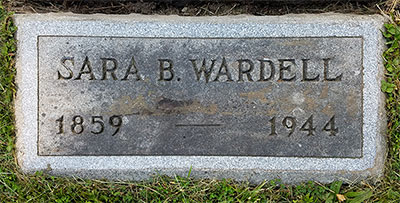 Headstone of Sara Barrett Wardell (née Acheson) 1858 - 1944