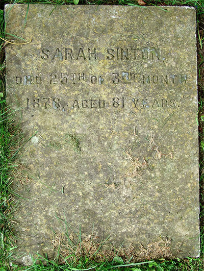 Headstone of Sarah Sinton 1795 - 1876