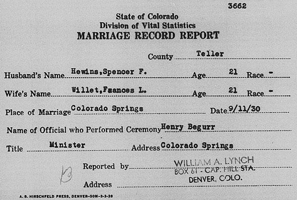 Wedding record for Spencer Foster Hewins and Frances Louisa Willett