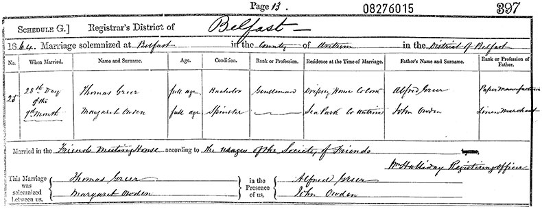 Marriage Certificate of Thomas Greer and Margaret Owden - 28 July 1864