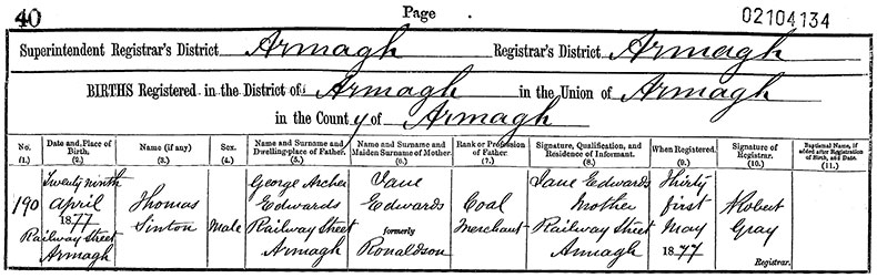 Birth Certificate of Thomas Sinton Edwards - 29 April 1877