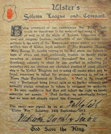 Ulster Covenant signed by Frederick Buckby Sinton