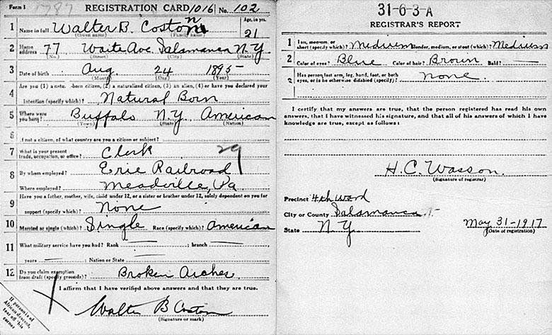 World War I Draft Registration of Walter Best Coston