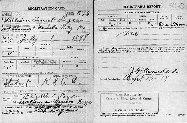 World War I Draft Registration Card for William Ernest Logan