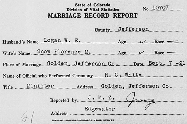 Marriage Record Report for William E. Logan and Florence M. Snow