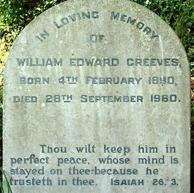 Headstone of William Edward Greeves 1890 - 1960