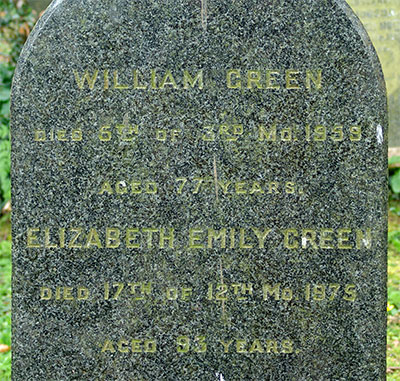 Headstone of Elizabeth Emily Green<br />(née Swain) 1882 - 1975