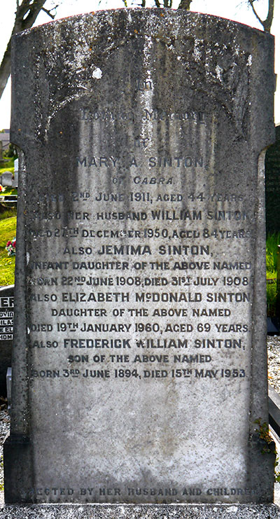 Headstone of Frederick William Sinton 1894 - 1953