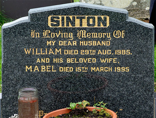 Headstone of William Sinton 1917-1985