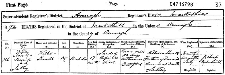 Death Certificate of John Radcliffe Keating - 11 October 1924